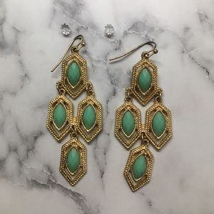 Accessories - Green and gold dangle earrings